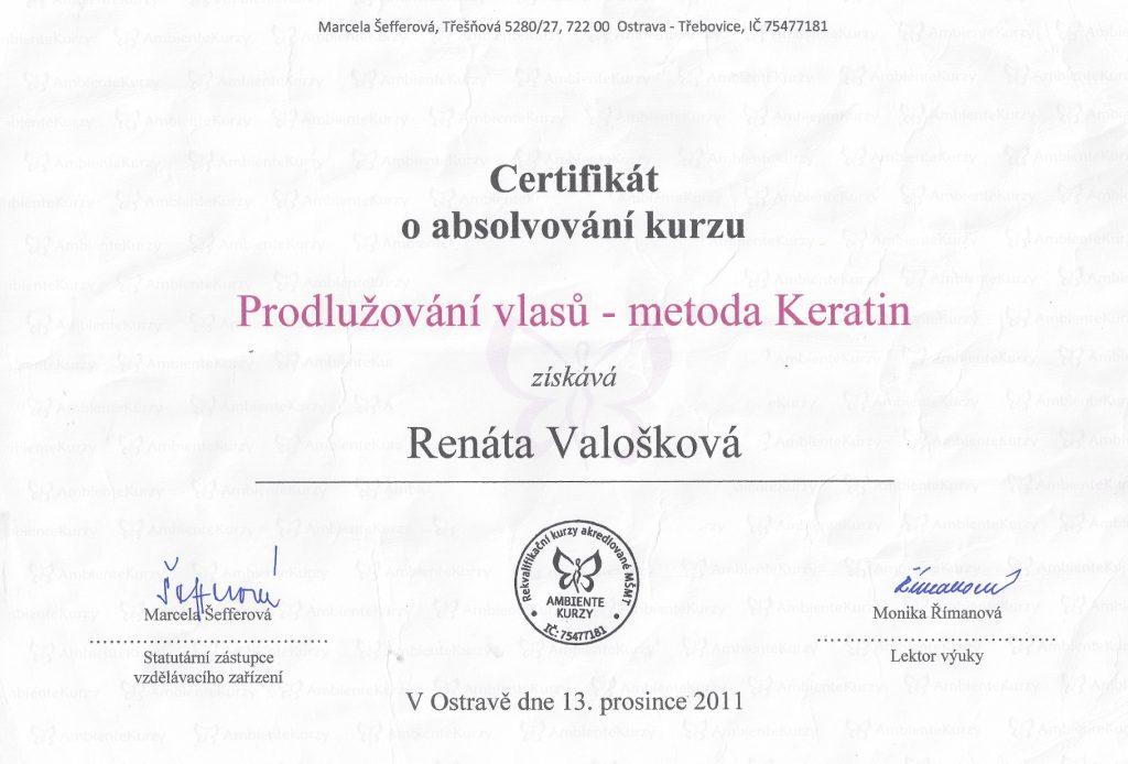 Valošková Renata, certifikáty k prodlužování vlasů metodou Kreatin