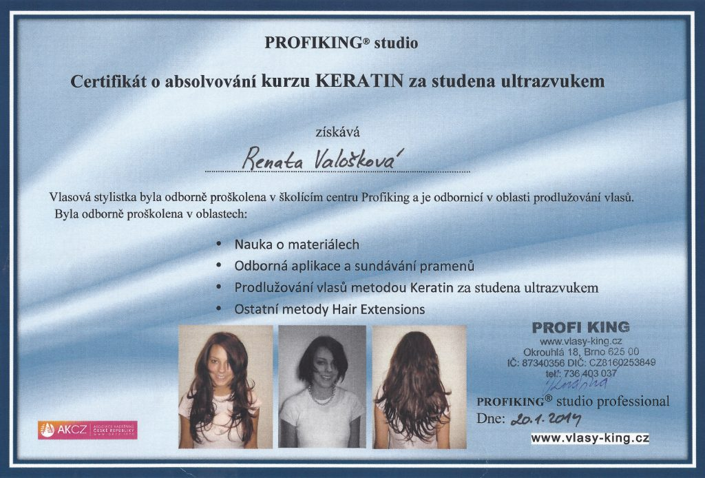 Valošková Renata, certifikáty k prodlužování vlasů metodou Kreatin za studena
